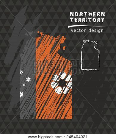 Northern Territory National Vector Map With Sketch Chalk Flag. Sketch Chalk Hand Drawn Illustration