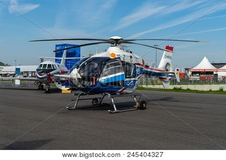 Berlin - April 27, 2018: Research Helicopter Eurocopter Mbb Bo105 By German Aerospace Center (dlr).