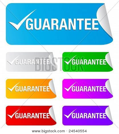guarantee checkmark,rectangular stickers