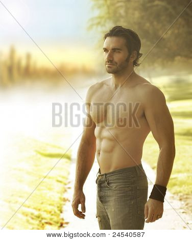 Portrait of a beautiful shirtless man in jeans against the light in natural outdoor setting
