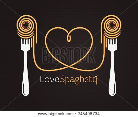 Love Spaghetti Concept. Pasta With Fork On Black Background 10 Eps