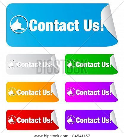 contact us, rectangular shape stickers
