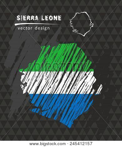 Sierra Leone Map With Flag Inside On The Black Background. Chalk Sketch Vector Illustration