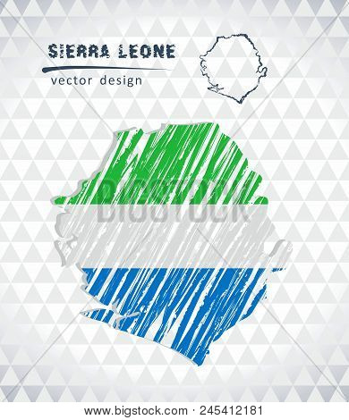 Sierra Leone Vector Map With Flag Inside Isolated On A White Background. Sketch Chalk Hand Drawn Ill