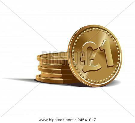 Pound coins vector illustration, financial and currency theme poster