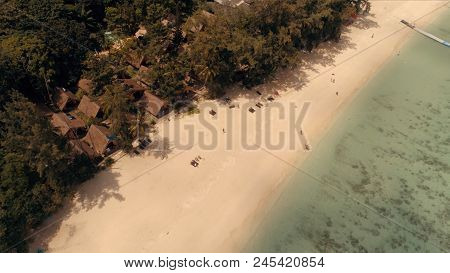 Flight On A Dune Over The Island Of Ko. Yachts Anchored Near The Island. The Beach Line, With Gentle