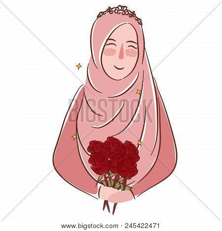 Muslim Girl With Rosesmuslim Girl With Roses Wearing Veil Islamic Matrimonial Vector Illustration Dr