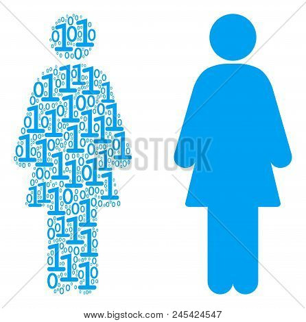 Woman Person Composition Icon Of One And Zero Digits In Variable Sizes. Vector Digit Symbols Are Org