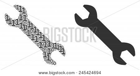 Wrench Collage Icon Of One And Zero Digits In Various Sizes. Vector Digits Are Randomized Into Wrenc