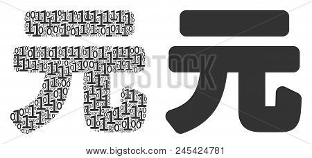 Yuan Renminbi Composition Icon Of Zero And Null Digits In Different Sizes. Vector Digits Are Formed