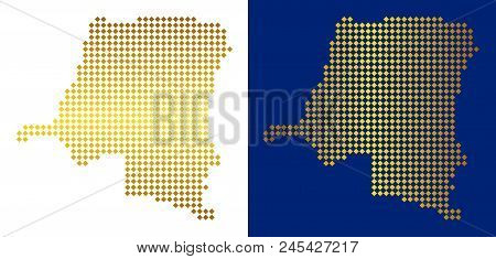 Gold Rhombic Democratic Republic Of The Congo Map. Vector Geographical Maps In Golden Colors With Ve