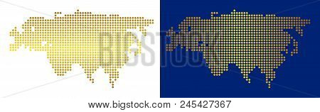 Gold Rhombic Europe And Asia Map. Vector Geographical Maps In Shine Colors With Vertical And Horizon