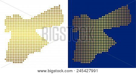 Gold Dotted Jordan Map. Vector Territorial Maps In Bright Colors With Vertical And Horizontal Gradie
