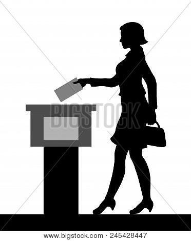 Female voter silhouette by voting for election. All the silhouette objects and background are in different layers. poster