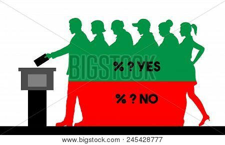 Voters Crowd Silhouette With Election Results Of Referendum Percentages. All The Silhouette Objects,