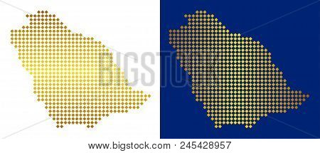 Gold Colored Dotted Saudi Arabia Map. Vector Geographic Maps In Golden Colors With Vertical And Hori
