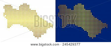 Golden Dot Turkmenistan Map. Vector Geographical Maps In Shiny Colors With Vertical And Horizontal G
