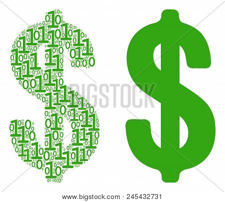 Dollar Collage Icon Of Zero And Null Digits In Randomized Sizes. Vector Digital Symbols Are Organize