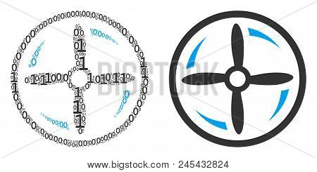 Drone Screw Rotation Collage Icon Of One And Zero Digits In Randomized Sizes. Vector Digit Symbols A