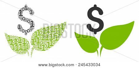 Eco Startup Composition Icon Of Binary Digits In Variable Sizes. Vector Digit Symbols Are Grouped In