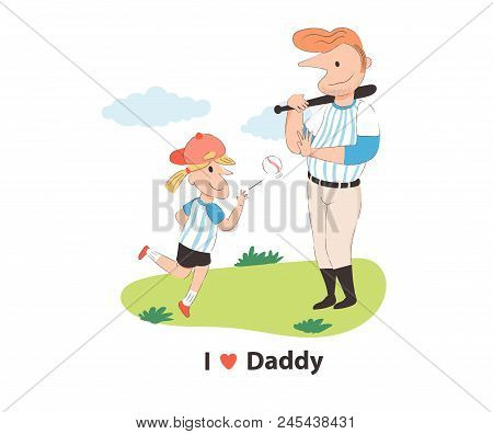 Doodle Father Playing Baseball With Daughter, With I Love Daddy Text, Father Day Concept, Illustrati
