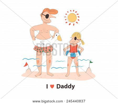 Doodle Father And Daughter On The Beach In Summer, Wearing The Rubber Ring, With I Love Daddy Text,