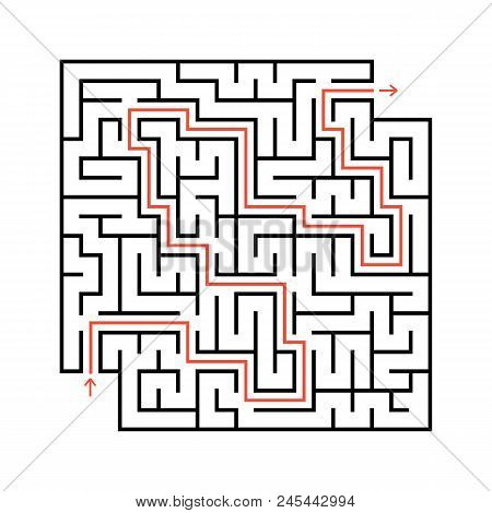 Abstract Square Maze With Entrance And Exit. Simple Flat Vector Illustration Isolated On White Backg