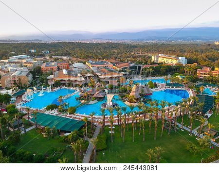 Side, Turkey - June 9, 2018: Aerial view of the tropical resort Pegasos World in Side, Turkey. Pegasos World Hotel is a 4-star resort