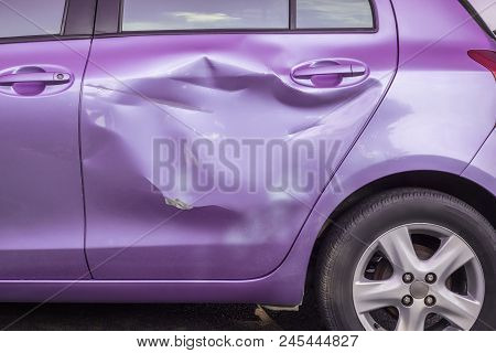 Body And Door Of Modern Car Get Damaged By Accident. Car Insurance And Repair Cocent
