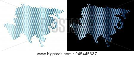 Hex-tile Asia Map. Vector Geographic Scheme In Light Blue Color With Horizontal Gradient On White An