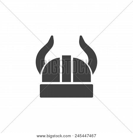 Viking Helmet Vector Icon. Filled Flat Sign For Mobile Concept And Web Design. Helmet With Horns Sim