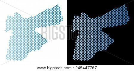 Hexagonal Jordan Map. Vector Territory Plan In Light Blue Color With Horizontal Gradient On White An