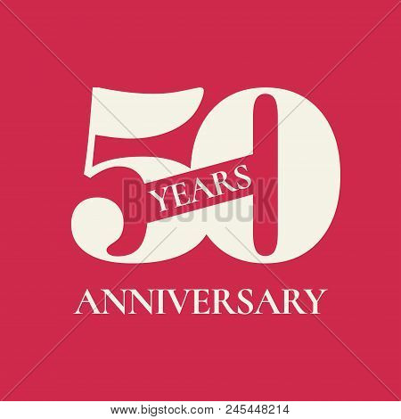 50 Years Anniversary Vector Icon, Logo. Design Element With Red Color Background And Number For 50th