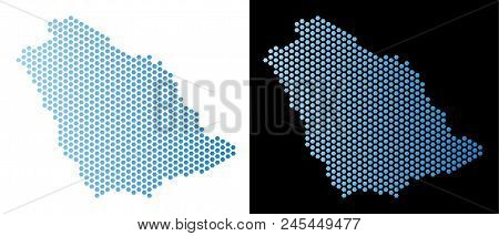 Hex Tile Saudi Arabia Map. Vector Geographic Scheme In Light Blue Color With Horizontal Gradient On