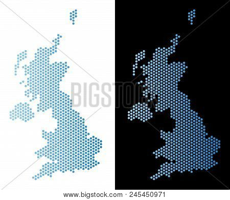 Hexagon United Kingdom Map. Vector Territory Scheme In Light Blue Color With Horizontal Gradient On