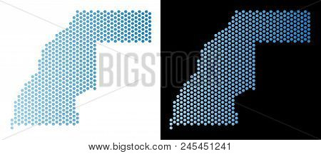 Hex Tile Western Sahara Map. Vector Territorial Scheme In Light Blue Color With Horizontal Gradient