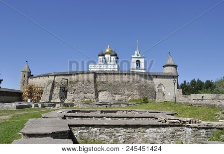 The Pskov Kremlin on a Sunny summer day. Russia poster