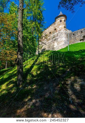 Stara Lubovna Castle Of Slovakia On The Hillside. Beautiful Medieval Architecture. Popular Tourist A