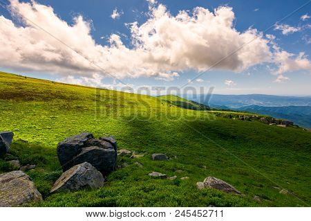 Beautiful Cloudy Formations Above The Mountain Top. Lovely Summer Landscape. Bright And Fresh Day, G