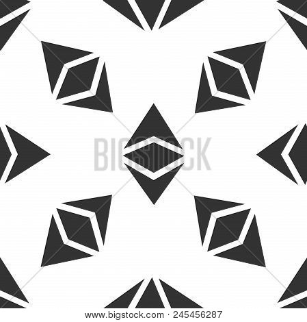 Cryptocurrency Coin Ethereum Classic Etc Icon Seamless Pattern On White Background. Physical Bit Coi
