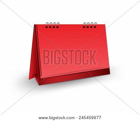 Red Blank Desk Calendar 3D Mockup Vector