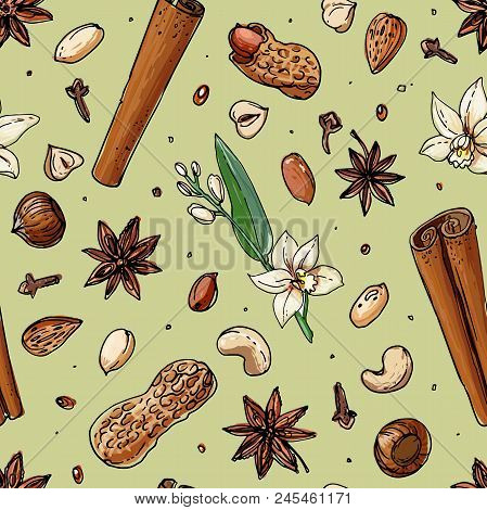 Pattern Nuts And Spices Line Drawn On A White Background. Sketch Of Food. Walnut, Cocoa Beans, Vanil