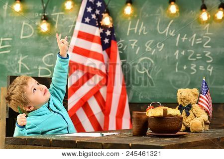 Back To School Or Home Schooling. Back To School Concept With Small Boy At School At American Flag O