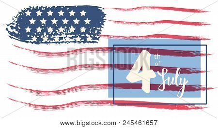Happy Independence Day Horizontal Banner. 4 July Card. Template For Holiday Design. Vector Illustrat