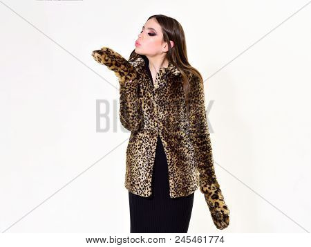 Leopard Fur At Stylish Girl. Look Of Fashion Model With Bad Taste. Fur Coat Boutique With Natural An