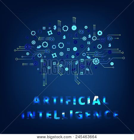 Artificial Intelligence Banner With Decoration. Ai Concept. Vector Illustration.