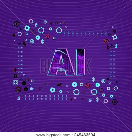 Artificial Intelligence. Ai Letters With Gears Decoration. Square  Banner With Creative Typographic.