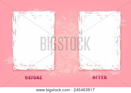 Before And After Pink Screen. Comparison Banner With Empty Space. Template For Graphic Design. Vecto