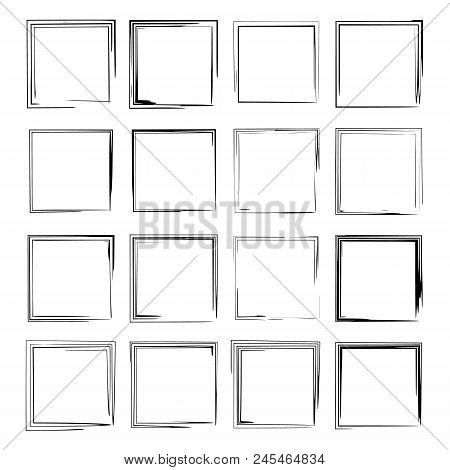 Set Of Black Square Grunge Frames. Geometric Rectangle Empty  Borders. Vector Illustration.