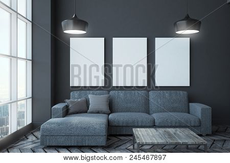Modern Living Room Interior With Panoramic City View, Couch, Table, Lamps And Poster On Wall. Mock U